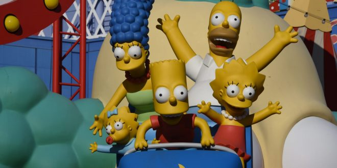The Simpsons on a roller coaster